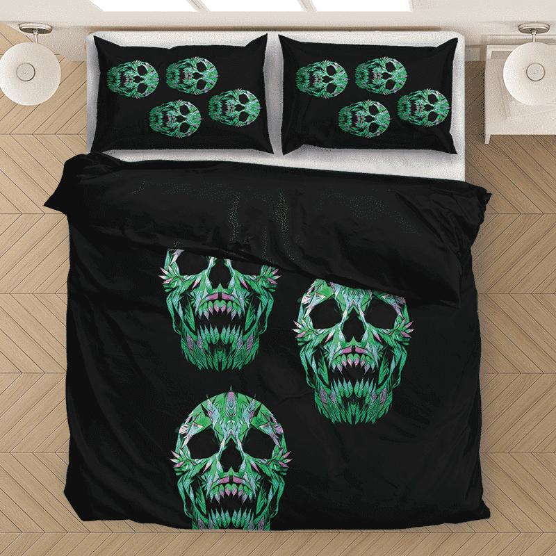 Weed 420 Skull Marijuana Doobie Hemp Black Bedding Set