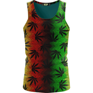 Weed Leaves Marijuana 420 Cool Reggae Pattern Awesome Tank Top