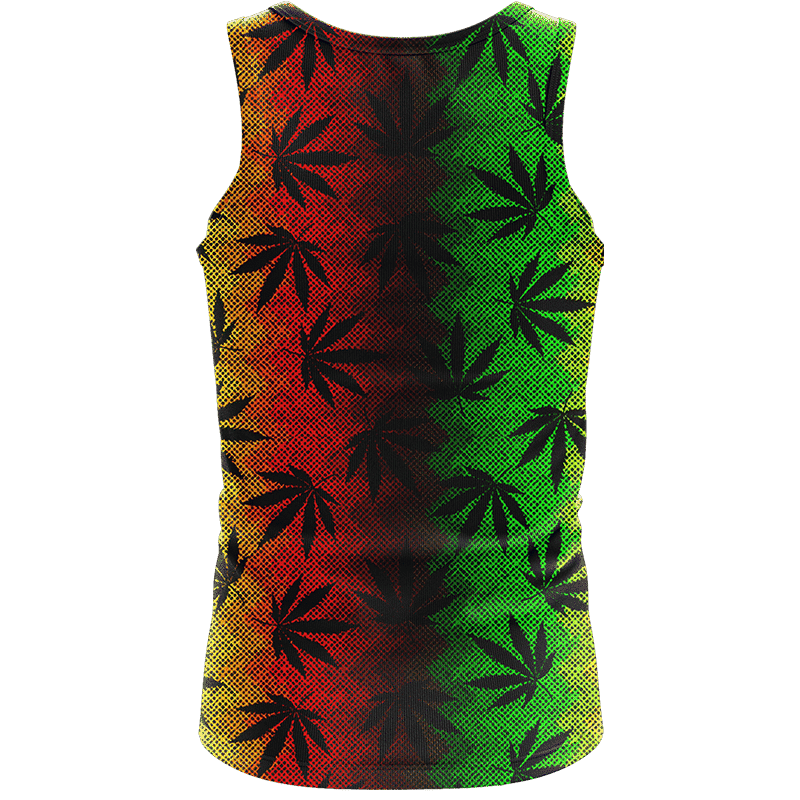 Weed Leaves Marijuana 420 Cool Reggae Pattern Awesome Tank Top - back