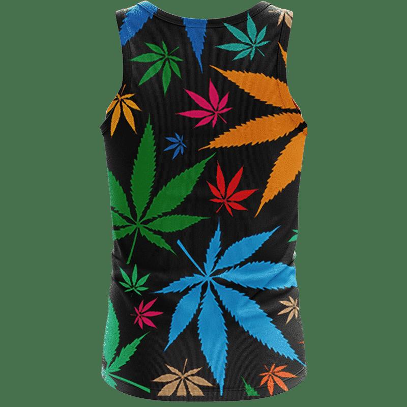 Weed Marijuana Colorful Seamless Pattern Dope Tank Top - Back