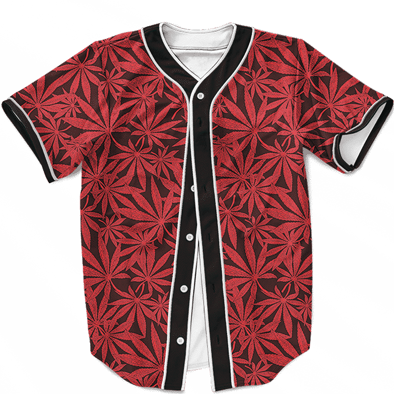 Weed Marijuana Leaves Awesome Red Pattern Cool Baseball Jersey