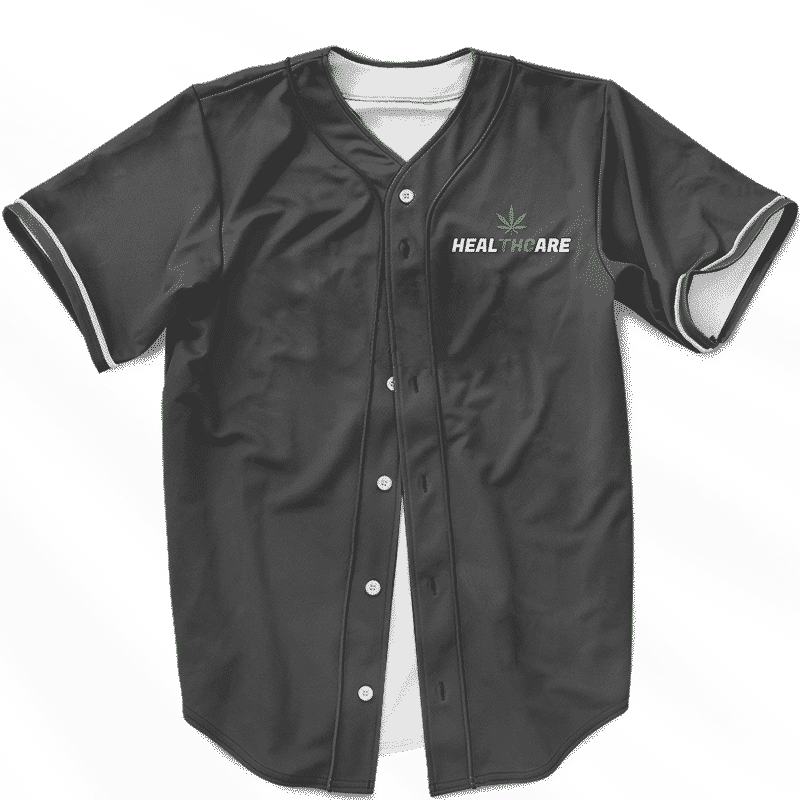 Weed THC Healthcare Dope Vector Marijuana Black Baseball Jersey