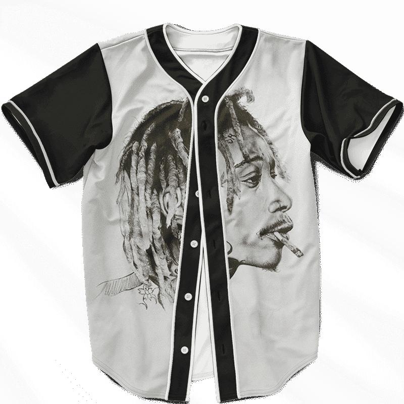 Wiz Khalifa Portrait Artwork Smoking Joint Dope Baseball Jersey