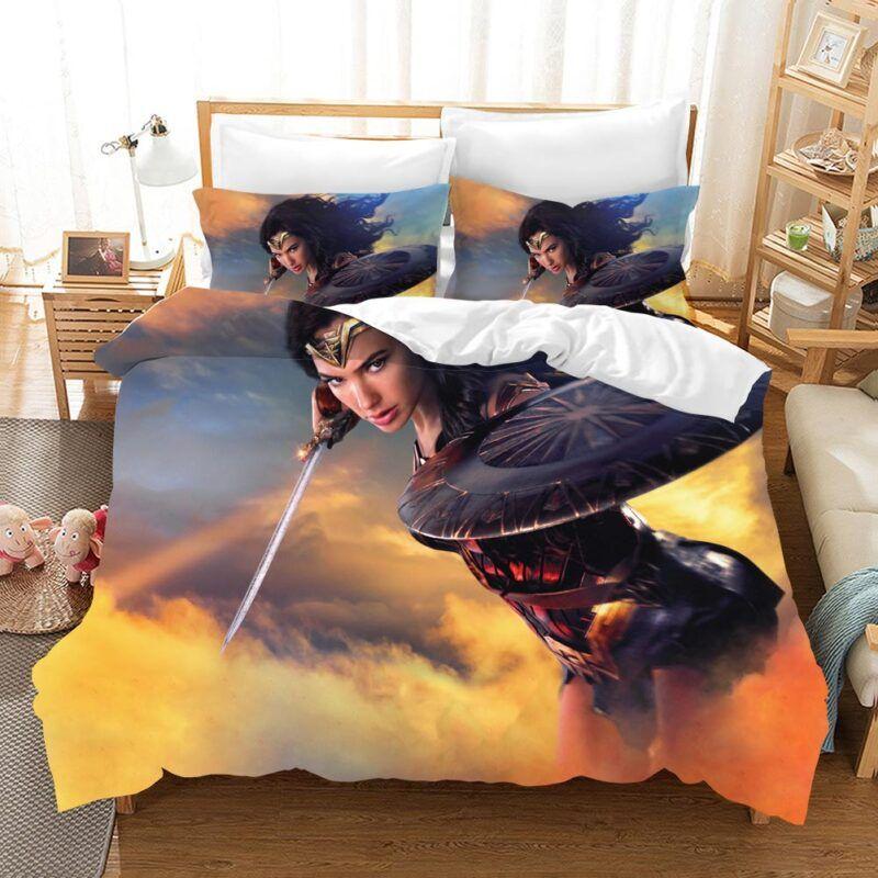 Wonder Woman Sky High Battle Sword And Shield Bedding Set