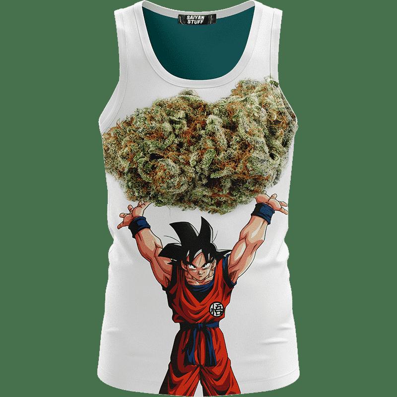 DBZ Goku Spirit Bomb Ganja Weed White Awesome Tank Top