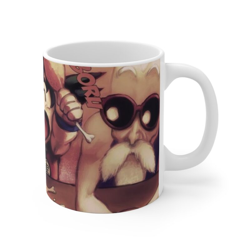 DBZ Kid Goku Krillin Master Roshi Eating Cute Art Coffee Mug