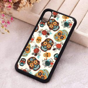 Artistic Sugar Skull Pattern Cool White iPhone 12 Case