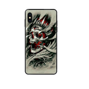 Badass Gothic King Skull Gray Red Dope iPhone 12 Case