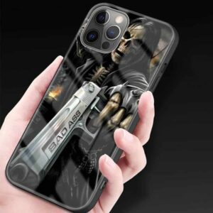 Badass Skeleton Pointing Gun Dope Skull iPhone 12 Case