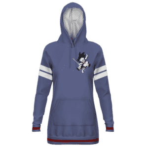 DBZ Kid Goku Dark Blue White Stripes Style Hoodie Dress