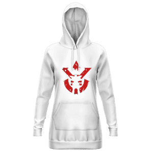 DBZ Vegeta Shadow Cool Red Vegeta Symbol White Hoodie Dress