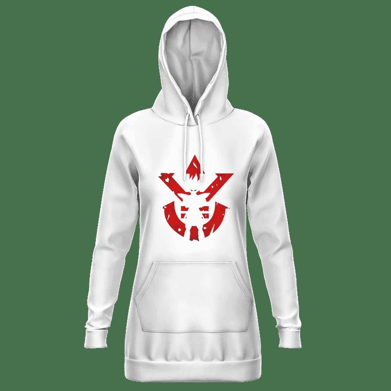 DBZ Vegeta Shadow Cool Red Vegeta Symbol White Hoodie Dress