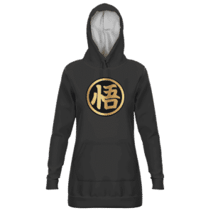 Dragon Ball Goku's Kanji Symbol Black Gold Hoodie Dress