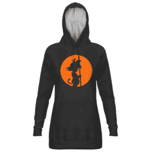 Dragon Ball Kid Goku Orange Silhouette Dark Dope Hoodie Dress