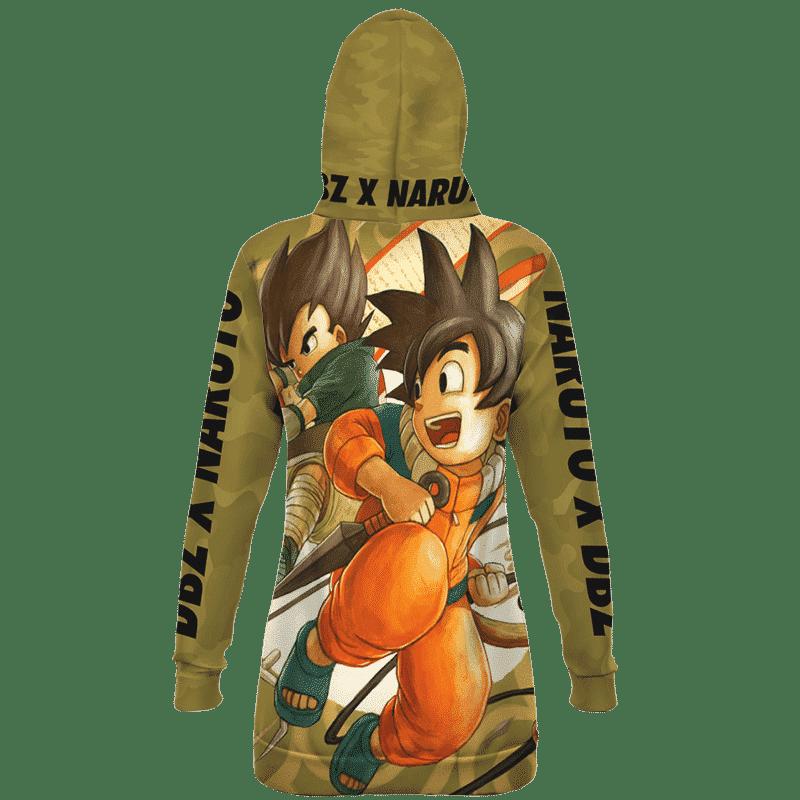 Dragon Ball Z Naruto Art Kid Goku & Kid Vegeta Camo Hoodie Dress