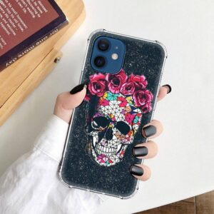 Geometric Skull Red Crown Roses Awesome iPhone 12 Case