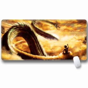 Goku Riding Kinton Cloud With Shenron Non-Slip Mouse Pad
