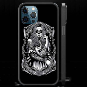 Gothic Lady Skull Makeup Dope Black Skull iPhone 12 Case