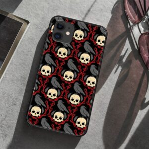 Gothic Skull & Crow Art Pattern Dope Skull iPhone 12 Case