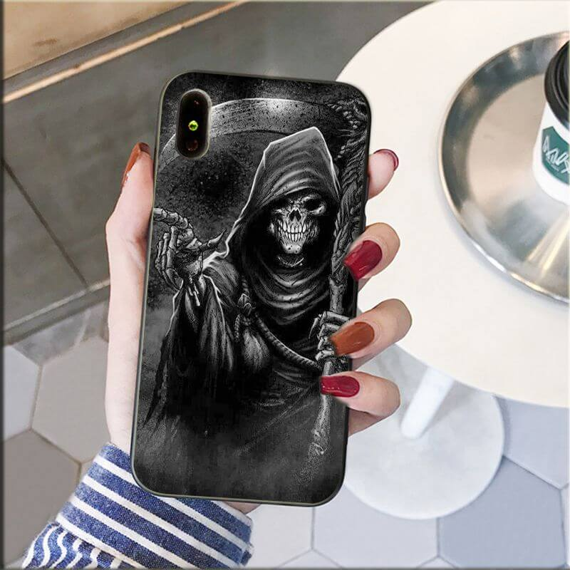 Grim Reaper Hand Point Gray Awesome Skull iPhone 12 Case