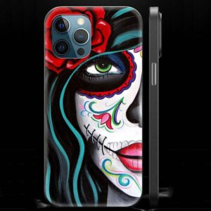 Half Face Sugar Skull Girl Makeup Day of The Dead iPhone 12 Case
