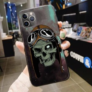 Old Man Skull Wearing Aviator Hat Galaxy Cool iPhone 12 Case