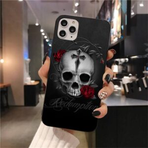 Redemption Skull & Red Roses Gray Cool iPhone 12 Case