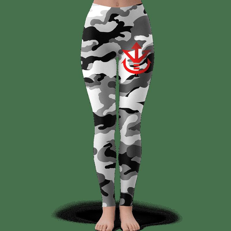 Saiyan Royal Family Symbol Camouflage Black White Yoga Pants