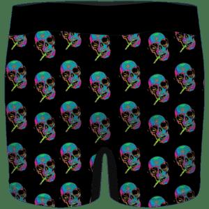 Smoking Vibrant Skull Retro 64 Bit Art 420 Marijuana Men's Boxers