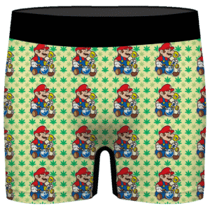 Super Mario Smokes Some Bong Get High 420 Marijuana Men's Boxers