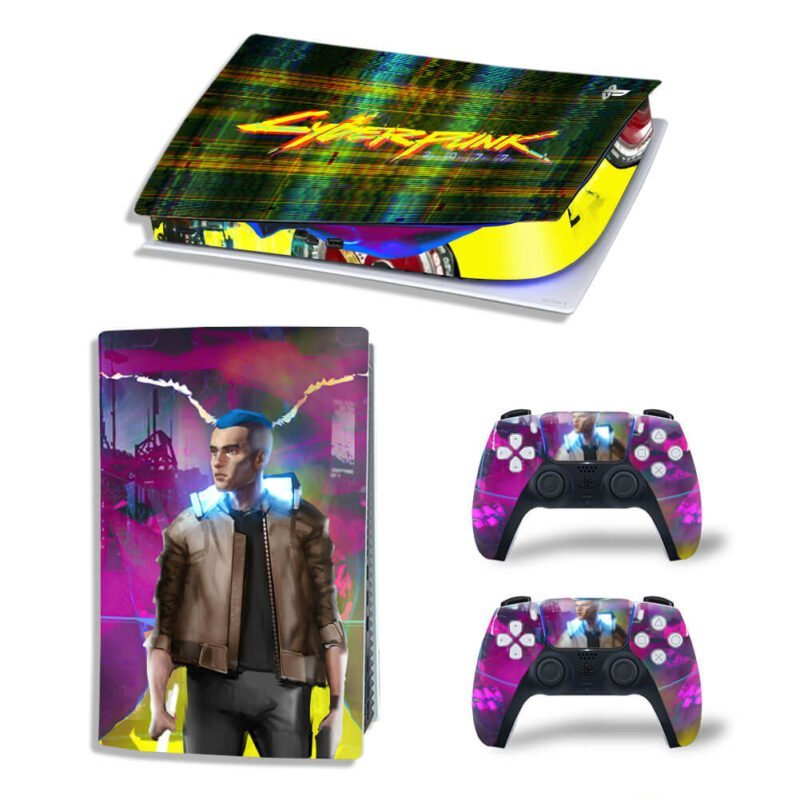 Cyberpunk 2077 Glitched Multicolor PS5 Digital Decal Cover