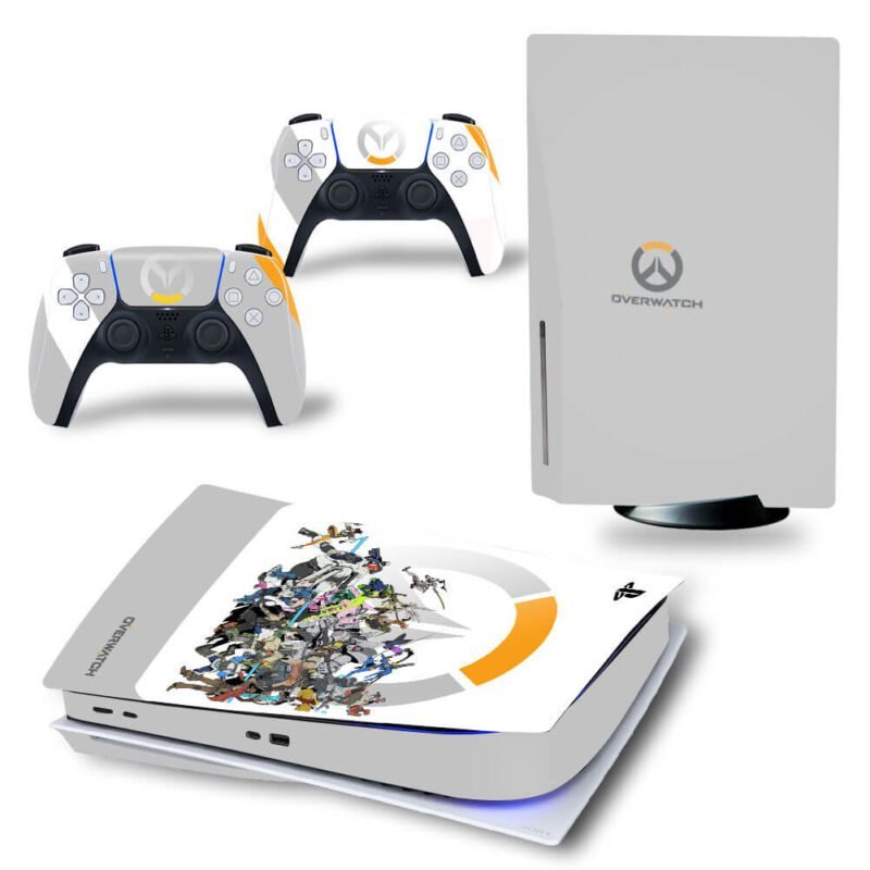 Overwatch Logo & All Characters White Cool PS5 Disk Decal