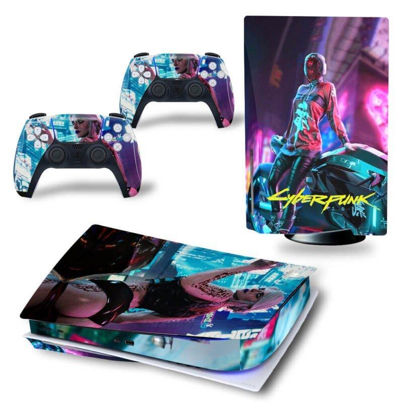 Cyberpunk 2077 Neon Lights Ciri Badass Girl PS5 Disk Skin