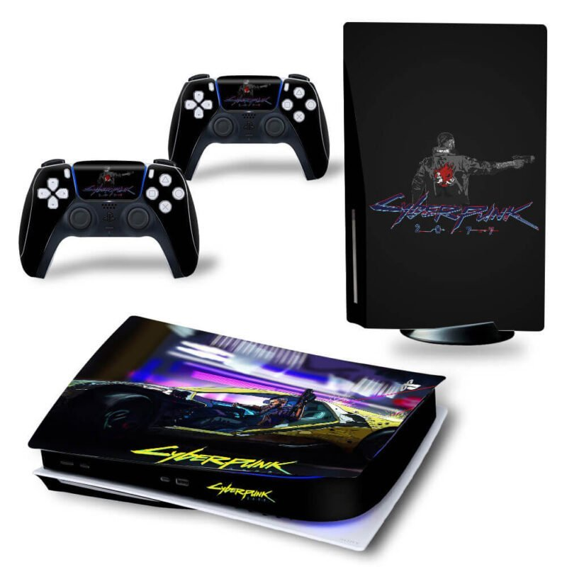 Cyberpunk 2077 Black Amazing Art Cool PS5 Disk Decal