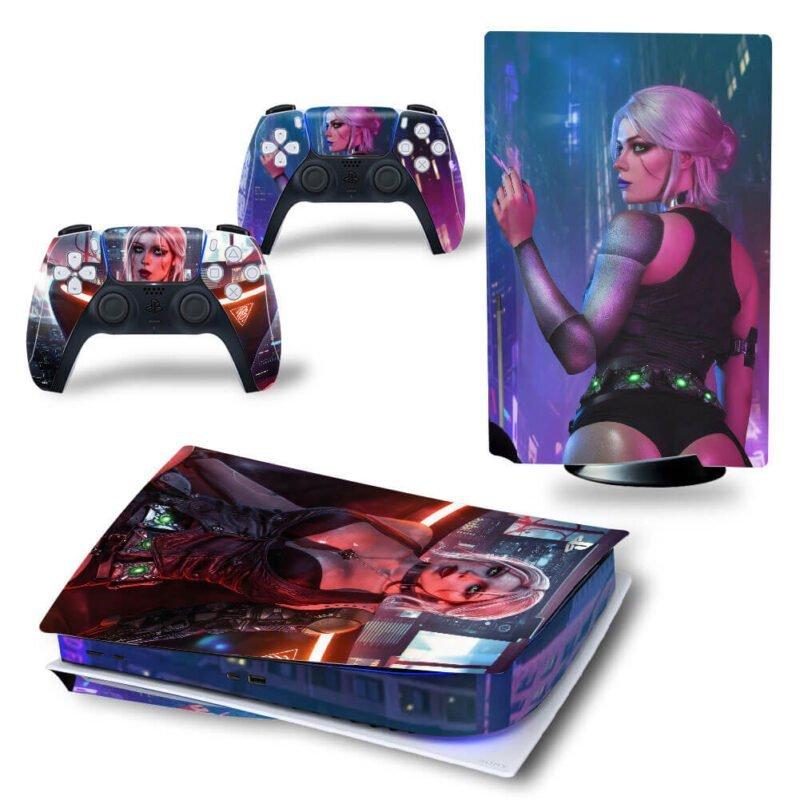 Cyberpunk 2077 Ciri In Night City Sexy PS5 Disk Decal Cover