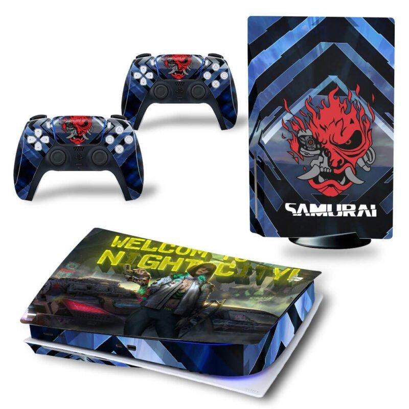 Cyberpunk 2077 Samurai Logo Night City PS5 Disk Wrap