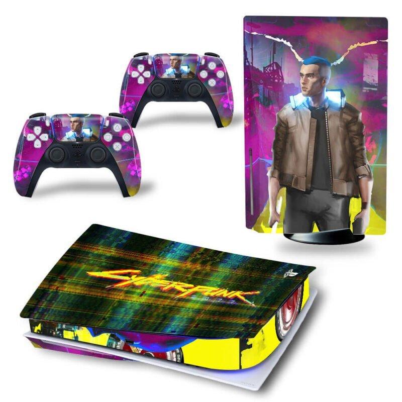 Cyberpunk 2077 Glitch Design Art & Man PS5 Disk Decal