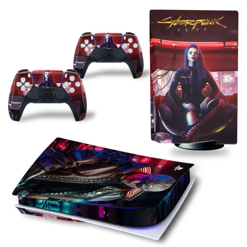 Cyberpunk 2077 Red Neon Badass Woman PS5 Disk Decal Cover