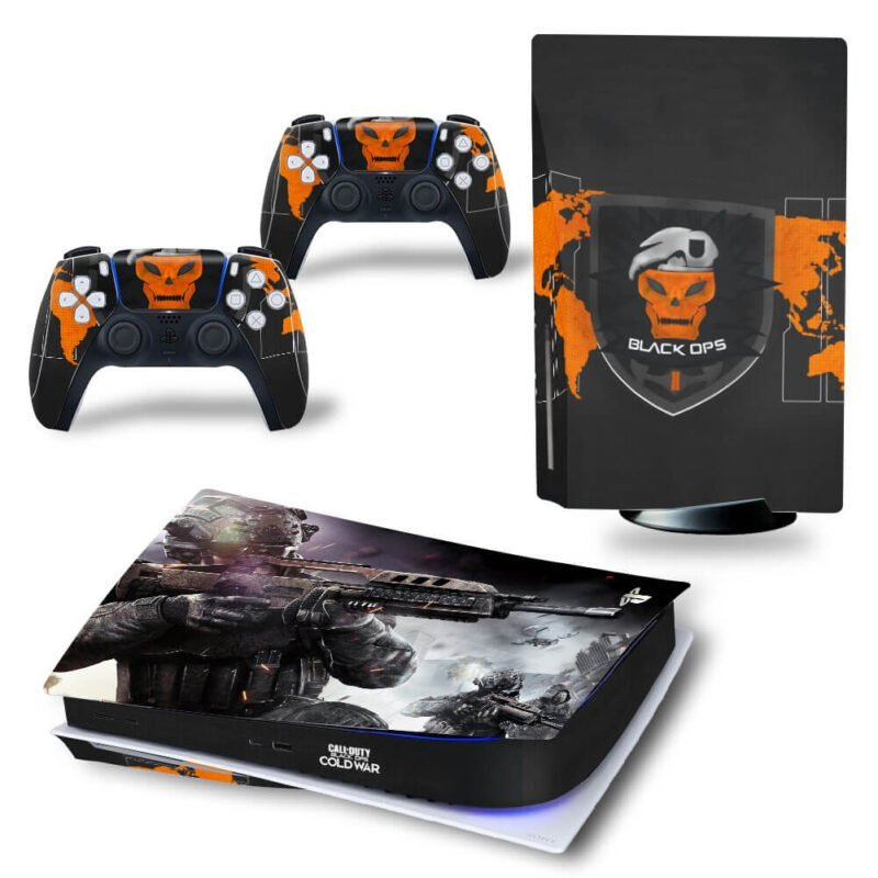 Call Of Duty Black Ops Cold War Orange Skull PS5 Disk Skin