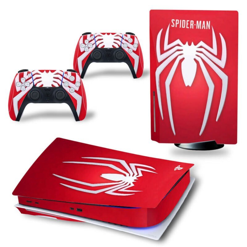 The Spiderman Red & White Emblem Logo Awesome PS5 Disk Skin