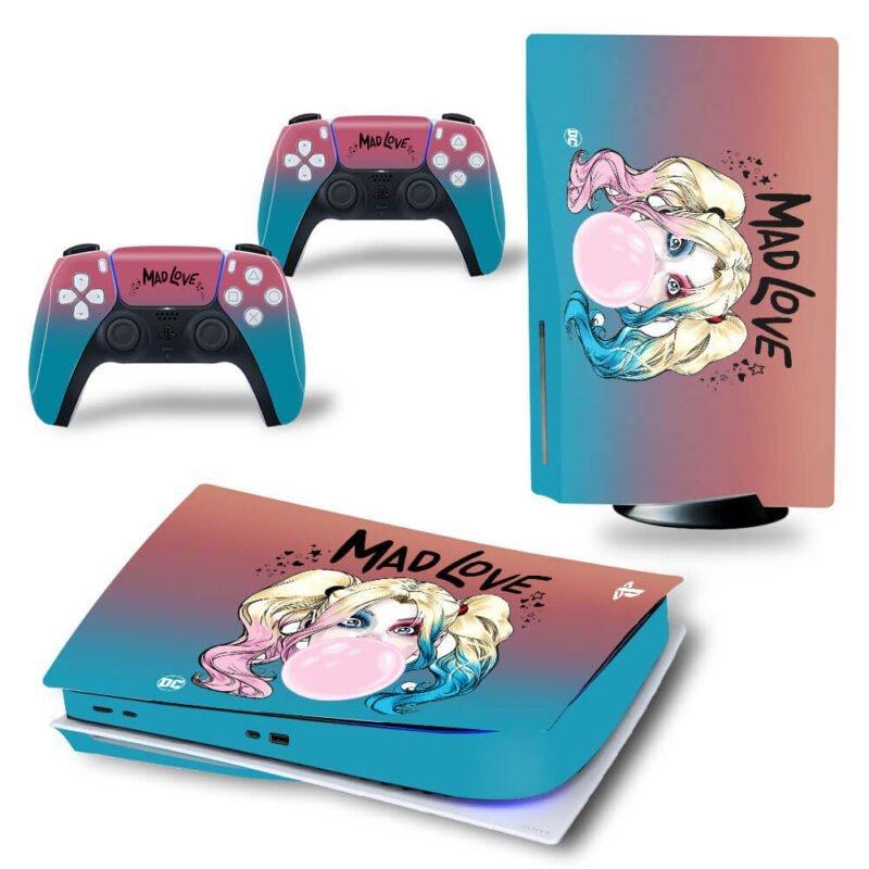 Blue & Pink Mad Love Harley Quinn Cartoon Cute PS5 Disk Wrap