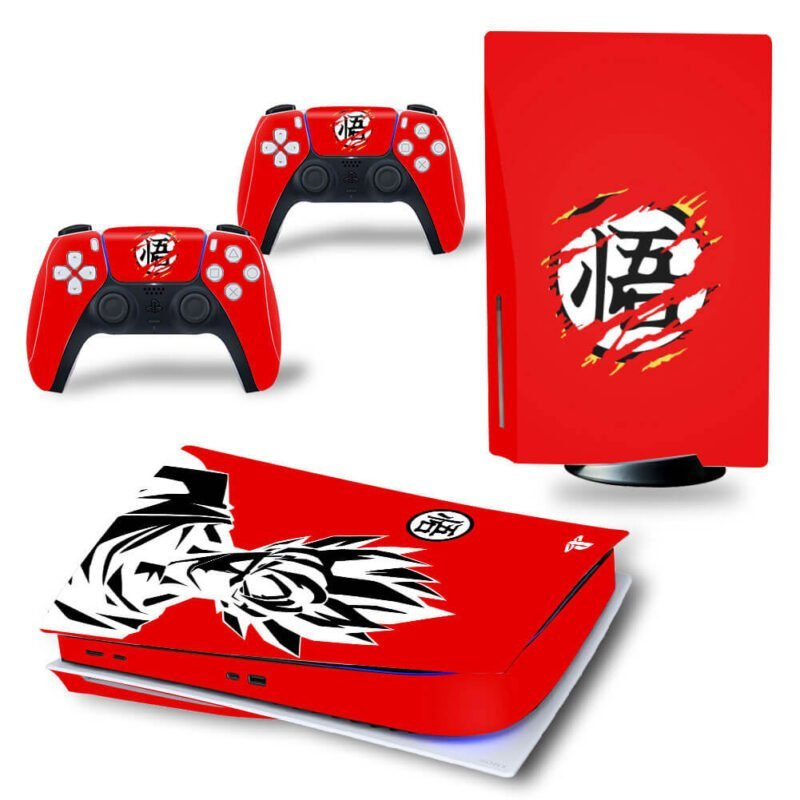 Red Goku Black & White & Kanji Symbol PS5 Disk Decal Cover