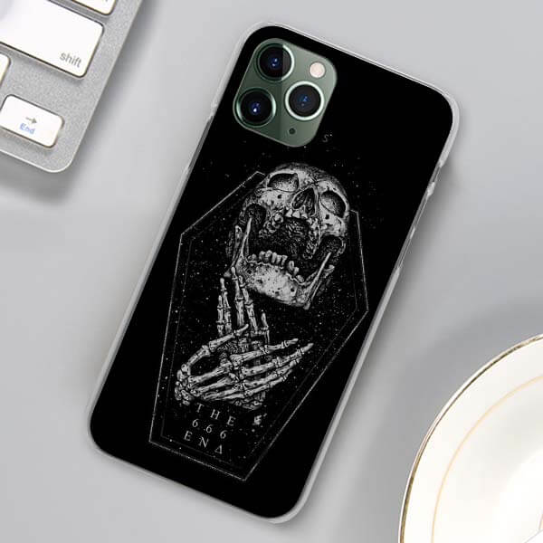 The 666 End Gaping Skull Inside Coffin Dope iPhone 12 Case