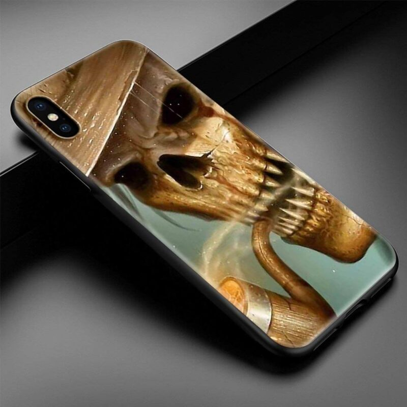 Vintage Look Golden Brown Skull Smoking Cool iPhone 12 Case
