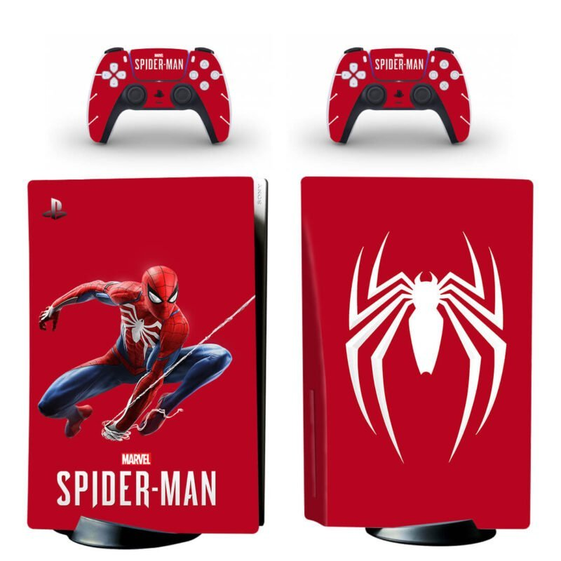 The Spiderman Web & Emblem Red Dope PS5 Disk Decal Cover