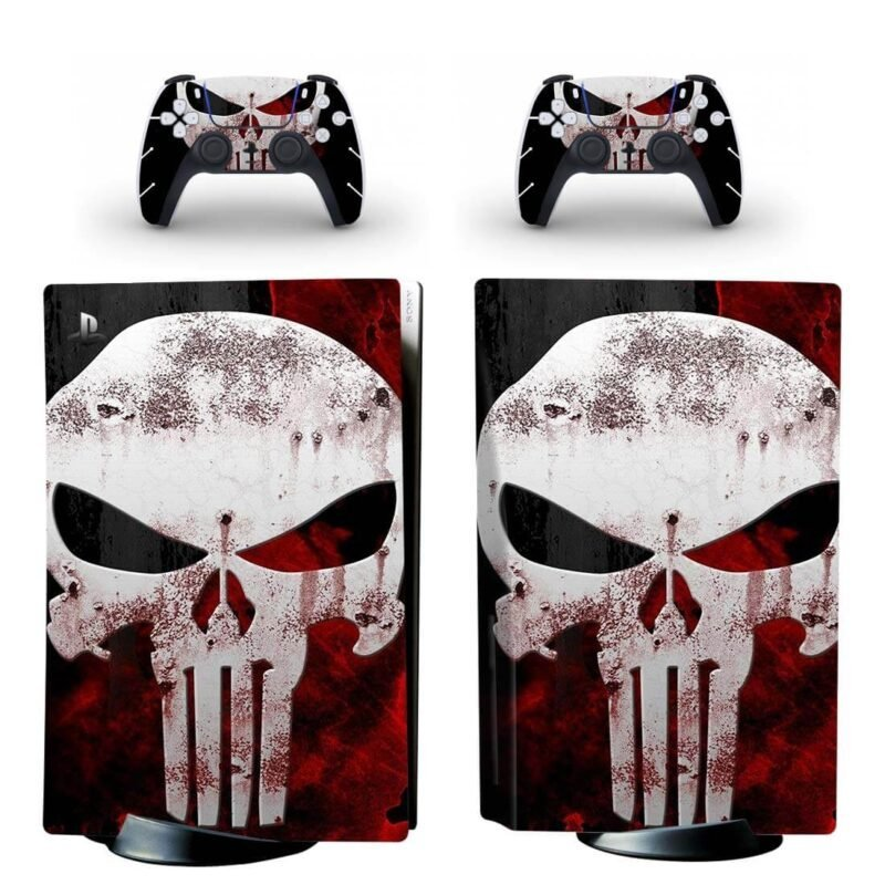 The Punisher Black Red & White Awesome PS5 Disk Decal Cover