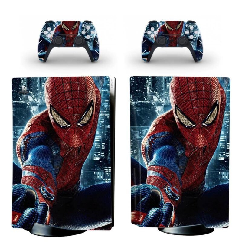 Classic Blue & Red Spiderman Intense PS5 Disk Decal Cover