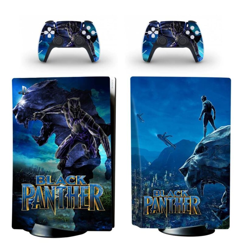 The Black Panther Wakanda Dark Blue PS5 Disk Decal Cover