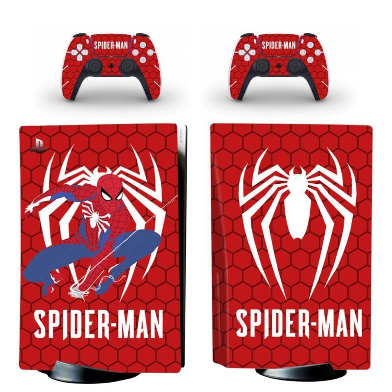 The Spider Man Cool Web Swing Red PS5 Disk Decal Cover