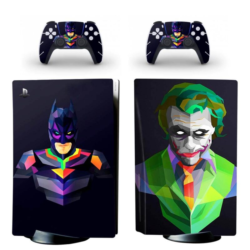 Batman & The Joker Colorful Vector Art Black PS5 Disk Skin